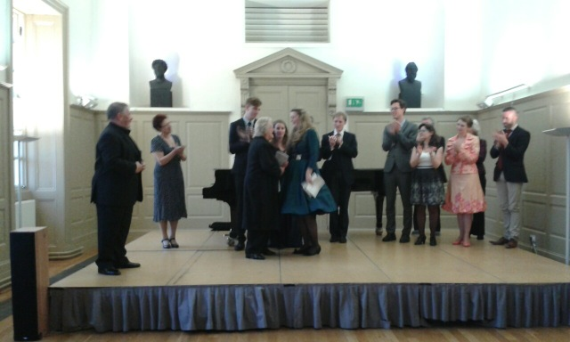 Rhiannon Llewellyn (1st) also accepts a cheque on behalf of her pianist, Peter Foggitt, who won the accompanist's prize